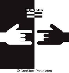 igualdad, illustration., concept., mano, vector, negro, blanco