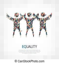 igualdad, señal, gente, 3d