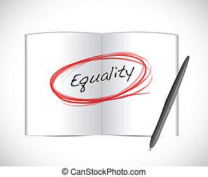 igualdade, livro, desenho, ilustração, sinal