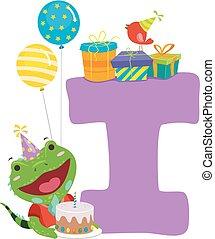 Iguana Birthday Alphabet Illustration - Illustration of an...