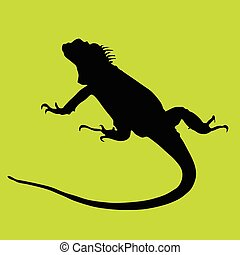 iguana black silhouette on green background