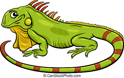 iguana, caricatura, ilustração, animal