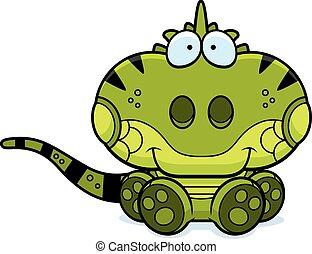 iguana, caricatura, sentado