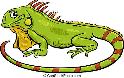 iguana, cartone animato, illustrazione, animale