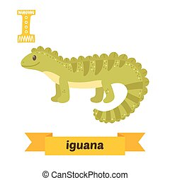 Iguana. I letter. Cute children animal alphabet in vector. Funny cartoon animals