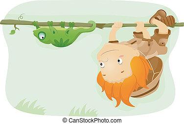 Iguana Kid - Illustration of a Kid Imitating an Iguana