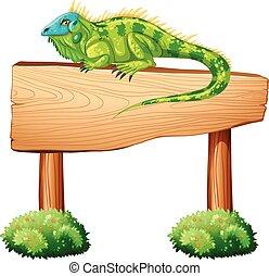 Iguana sitting on the wooden sign illustration