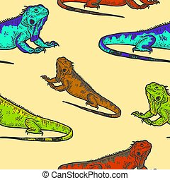 Iguana sketch seamless, drawing a big lizard. Apparel print design color