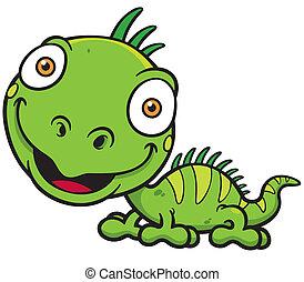 Iguana - Vector illustrations of Cartoon green iguana