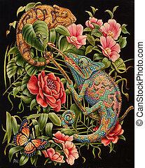Iguanas - Oil painting.