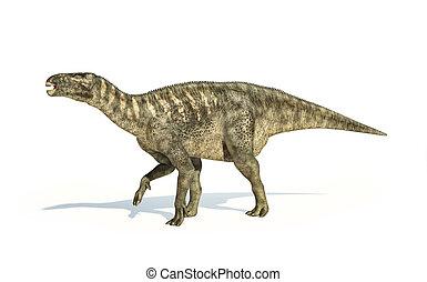 iguanodon, ábrázolás, lejtő, dinoszaurusz, nézet., photorealistic