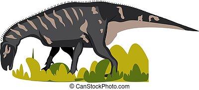 iguanodon, バックグラウンド。, 白, ベクトル, イラスト