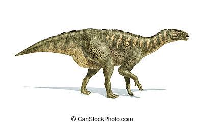 Iguanodon Dinosaur photorealistic representation, side view.