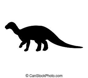 Iguanodon silhouette dinosaur jurassic prehistoric animal