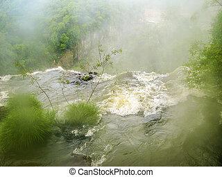 iguassu, 폭포, 에서, 남아메리카, 열대적인, 정글