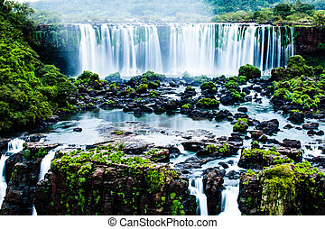 Iguassu Falls, the largest series of waterfalls of the...