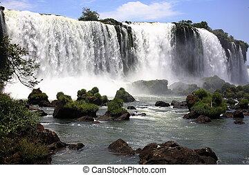 iguassu, (iguazu;, iguaçu), cadute, -, grande, cascate