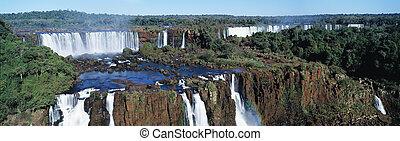 Panoramic view on famose Igusu waterfall on Argentina side