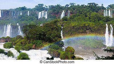 iguazu, 滝, ブラジル, del, 川, cataratas