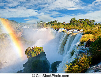 iguazu cai, um, de, a, novo, sete, maravilhas, de, nature.,...