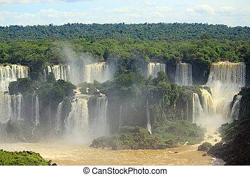 iguazu, cascate, su, il, bordo, di, argentina, e, brasile