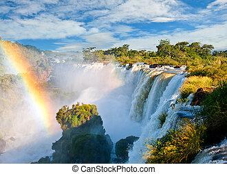 iguazu faller, en, av, den, färsk, sju, undrar, av, nature.,...