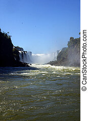 Iguazu Falls, at the border of Argentine and Brasil,...