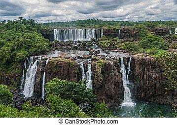 Iguazu falls in a cloudy day