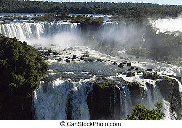 Iguazu Falls on a bright sunny day