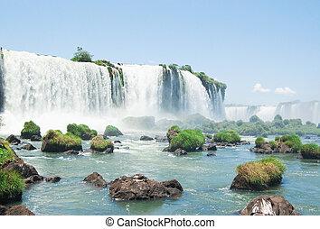 Iguazu Falls - the famous Iguazu Falls on the border of...