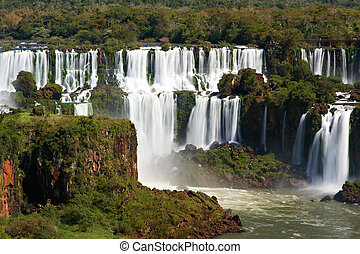 Iguazu Falls located on the border of Brazil and Argentina