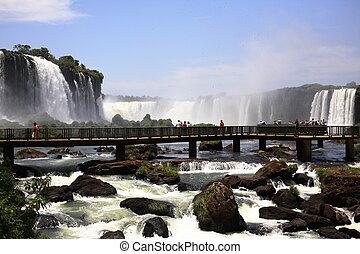 (iguazu;, iguaçu), -, 落ちる, 大きい, iguassu, 滝