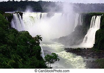 (iguazu;, iguaçu), -, bajas, grande, iguassu, cascadas