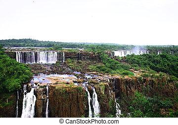 (iguazu;, iguaçu), -, chutes, grand, iguassu, chutes d'eau