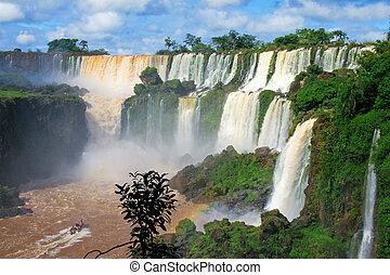 iguazu, wasser, fällt, in, misiones, provinz, argentinien