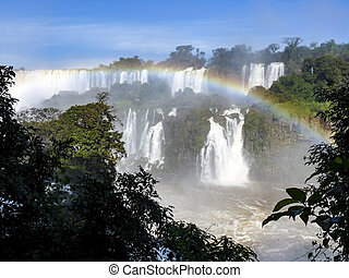 Iguazu waterfalls at Border of Brazil and Argentina. -...
