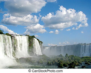 Iguazu Waterfalls in Brazil on a sunny day, seen from the Brazilian side.