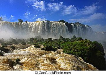 iguazufalls, 하나, 의, 그만큼, 새로운, 7, 은 경이한다, 의, 자연, 악마, 목구멍, garganta, del, diablo