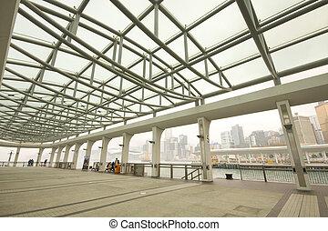 ihm, gleichfalls, a, stahl, dach, von, dock, in, hongkong