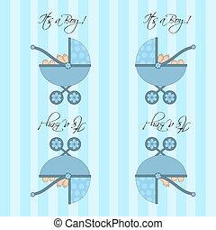 ihr, a, junge, blaues, baby, kinderwagen, seamless, fliese, hintergrund