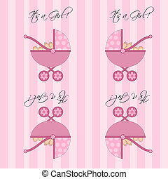 ihr, a, m�dchen, rosa, baby, kinderwagen, seamless, fliese, hintergrund