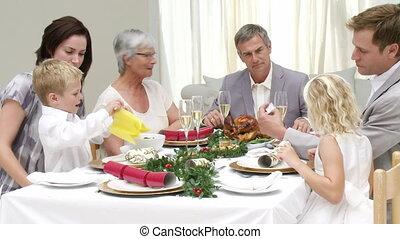 ihr, abendessen, vorabend, familie weihnachten