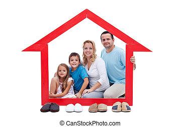 ihr, begriff, glückliche familie, daheim