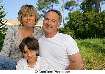 ihr, kleingarten, familie, Porträt