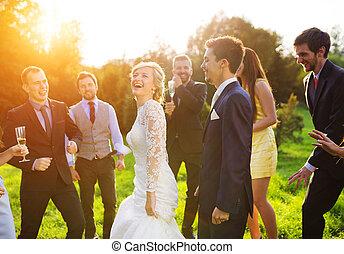 ihr, kleingarten, jungvermählten, party, gast