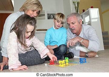 ihr, paar, senioren, enkelkinder, spielende