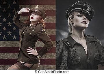 ii, amerikai, tiszt, erőltet, szexi, világ, háború