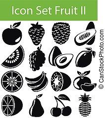 ii, ensemble, fruit, icône