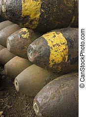 ii, mondiale, vieux, guerre, munitions