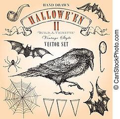 ii, ouderwetse , set, halloween, vector